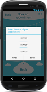 Screenshot of appointment booking feature