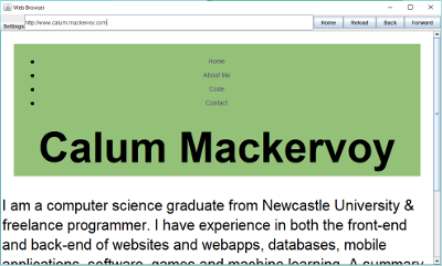 Screenshot of this website on the web browser
