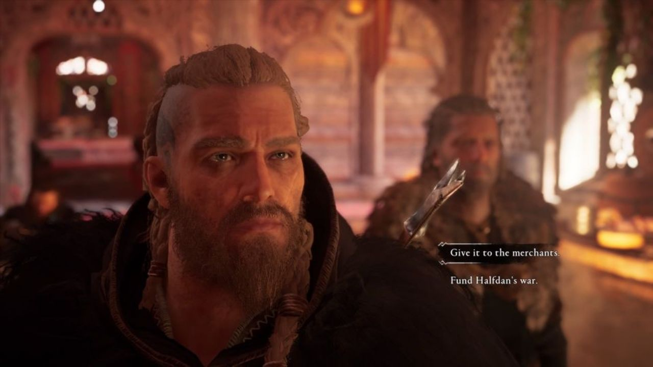 a screenshot of a dialogue choice from Assassin's Creed Valhalla in which there are only two choices, 'Give it to the merchants' or 'Fund Halfdan's War'. A very restricted range.