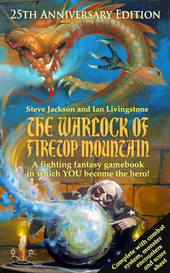 The front-cover of 'The Warlock of Firetop Mountain', a Fighting Fantasy book